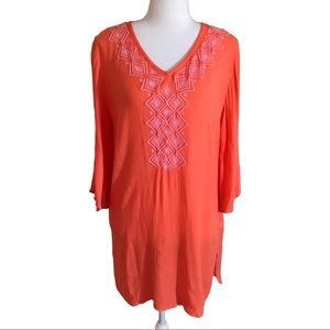 Lilly Pulitzer Coral Pink Boho embroidered tunic